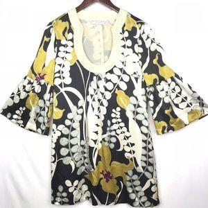Trina Turk Silk Floral Dress Bell Sleeves Seqins